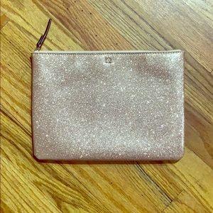 Kate Spade rose gold glitter clutch travel bag